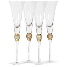 4 'Gold Crystal Ball' Martini Glasses