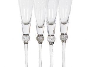 Champagne Flutes - Silver Crystal Ball Design - Set Of 4