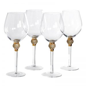 Red Wine Glasses - Gold Crystal Ball Design - Large Red Wine Glasses - Set Of 4