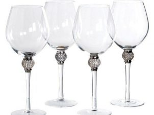 Red Wine Glasses - Silver Crystal Ball Design - Set Of 4