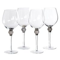 Red Wine Glasses - Silver Crystal Ball Design - Large Red Wine Glasses - Set Of 4