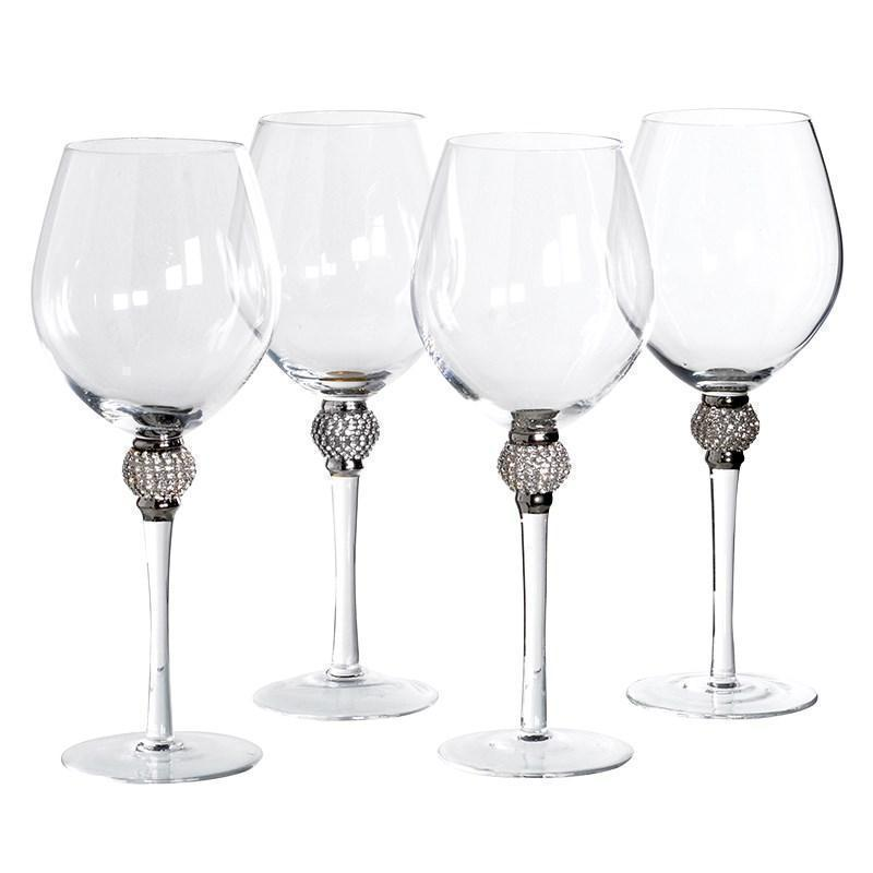 4 Large Crystal Wine Glasses