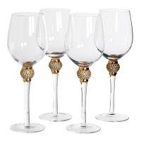White Wine Glasses - Gold Crystal Ball Design - Wine Glasses - Set Of 4