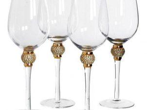 White Wine Glasses - Gold Crystal Ball Design - Wine Glasses - Set Of 4