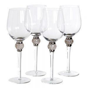 White Wine Glasses - Silver Crystal Ball Design - Wine Glasses - Set Of 4