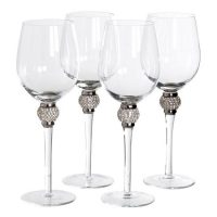 White Wine Glasses - Silver Crystal Ball Design - Wine Glasses - Set Of 4
