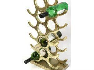Wine Rack - 15 Bottle Wine Rack - Floor/Counter Standing - Brass Finish