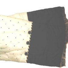 Luxury Raw Silk Bed Runner - Black & Ivory