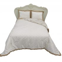 Luxury Quilt Bedspread - Gold & Ivory Raw Silk - Double