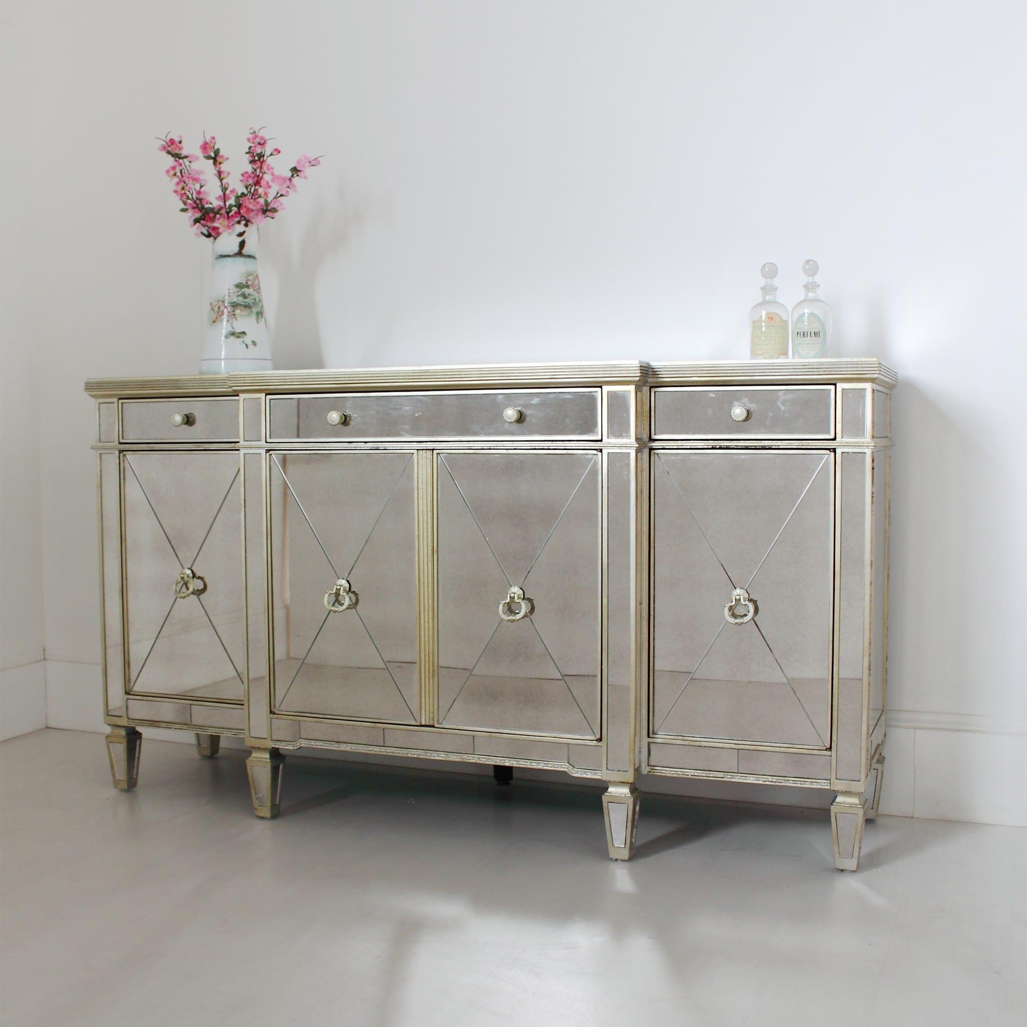 venetian seville antique mirrored large sideboard. Black Bedroom Furniture Sets. Home Design Ideas