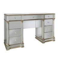 Dressing Table - Champagne Gold Edged - 9 Drawer - Mirrored Dressing Table