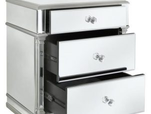 Bedside Cabinet - Champagne Silver Edged - 3 Drawer - Mirrored Bedside Cabinet