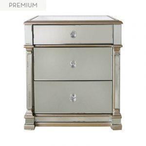Bedside Drawers - Champagne Gold Finish - Bevel Mirrored - 3 Drawers