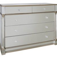 Chest Of Drawers - Champagne Edged - Bevelled Mirror - 5 Drawer
