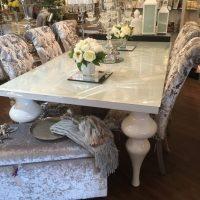 Dining Table - White High Gloss White - Glass Top - Medium - 180cm