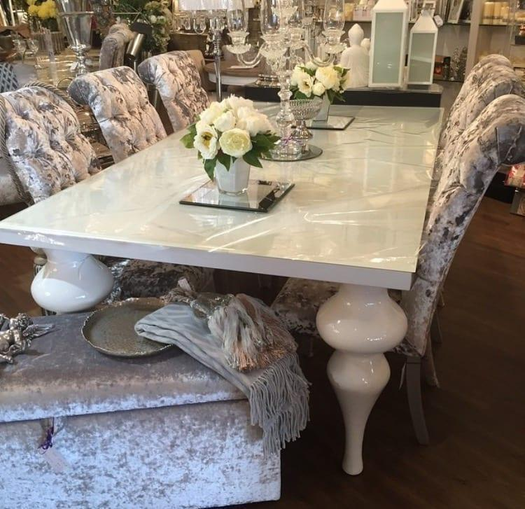info for f0fb5 22995 White High Gloss Glass Top Bulbous Leg Oblong Dining Table - Medium