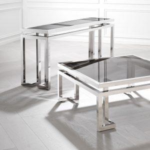 Console Table - Black Glass & Polished Chrome - Parma Chrome Range