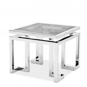 Lamp Table - Black Glass & Polished Chrome - Parma Chrome Range