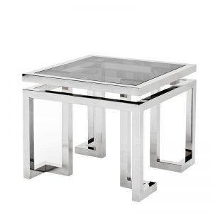 Lamp Table - Black Glass & Polished Chrome Lamp Table - Parma Chrome Range