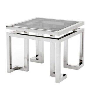 Lamp Table - Black Glass & Polished Chrome Lamp Table - Parma Chrome Range