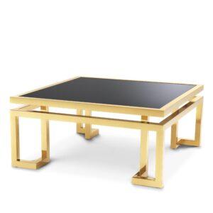 Coffee Table - Black Glass & Polished Brass - Parma Brass Range