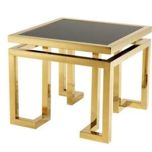 Lamp Table - Black Glass & Polished Brass - Parma Brass Range