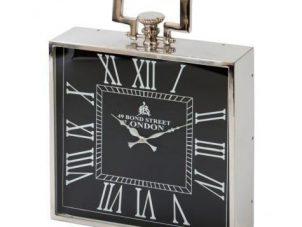 Mantel Clock - Large Square 'Bond Street London' - Polished Chrome