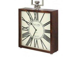 Mantel Clock - Square Shaped - Wooden Surround - Roman Numerals