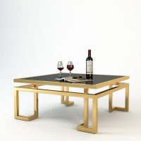 Coffee Table - Black Glass & Polished Brass Coffee Table - Parma Brass Range