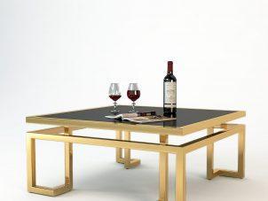 Coffee Table - Black Glass & Polished Brass Coffee Table - Parma Brass Range