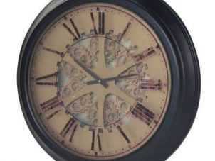 Wall Clock - Round Moving Cogs Design Wall Clock - Roman Numerals