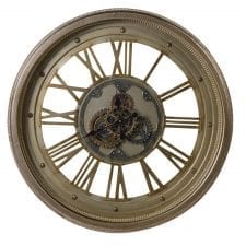 Large Round Moving Centre Cog Designer Wall Clock - Roman Numerals