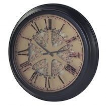 Round Intricate Gear Moving Cogs Wall Clock - Roman Numerals