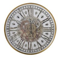 Wall Clock - Round Cogs Wall Clock - Antique Mirrored Glass - Roman Numerals
