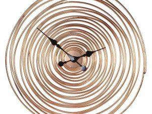 Wall Clock - Copper Metal Swirl Round Wall Clock - Battery Operated