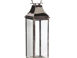 Hurricane Lantern - Tall Chrome Floor Standing Hurricane Lantern - Glass Sides