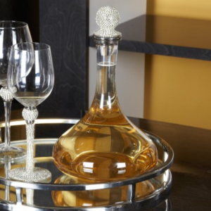 Decanter - Glass 'Silver Crystal Ball' Table Wine Decanter