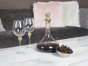 Decanter - Glass 'Gold Crystal Ball' Table Wine Decanter