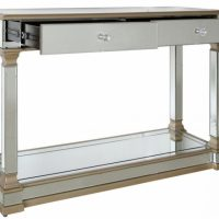 Console Table - Champagne Edged - 2 Drawer - Mirrored Furniture Range