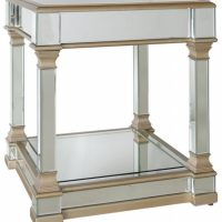 Mars Champagne Edged Mirrored Square Side Table