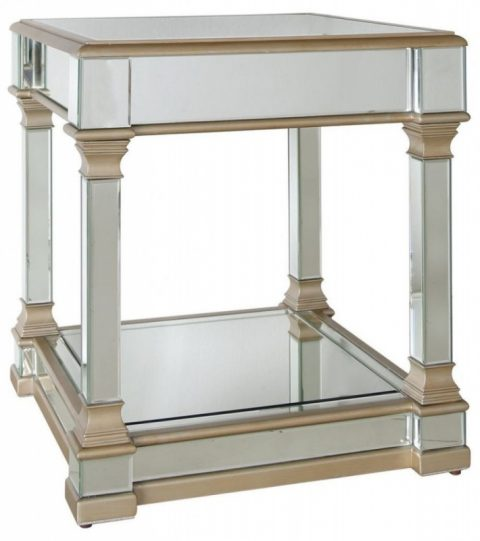Champagne Mirrored Coffee Table: Mars Champagne Mirrored Oblong Coffee Table