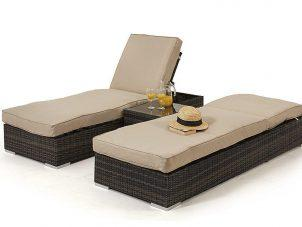 Orlando Double Sunlounger & Table Set - BROWN WEAVE