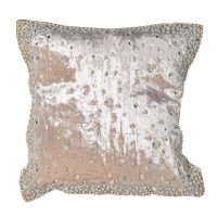 Cushion - Soft Square Hand Beaded Pearl Oyster Cushion - Feather Filled