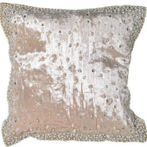 Scatter Cushion - Hand Beaded Pearl Velvet Cushion - Feather Filled