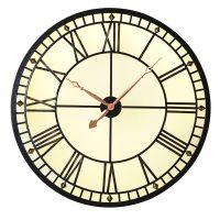 Wall Clock - Round Glass & Iron Back Lit Designer Wall Clock - Roman Numerals