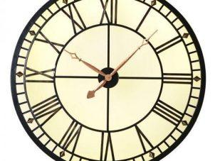 Wall Clock - Round Glass & Iron Back Lit Wall Clock - Roman Numerals