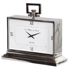 Sir William & Smith Polished Chrome Mantel Clock - Roman Numerals