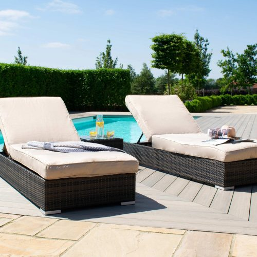 Double Sun Lounger & Side Table Set - Brown Polyweave