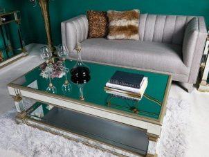 Coffee Table - Champagne Edged - Mirrored Furniture Range