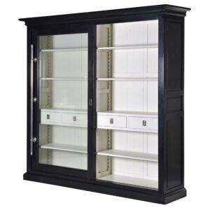 Kensington Black & Cream Sliding Glass Door Display Cabinet
